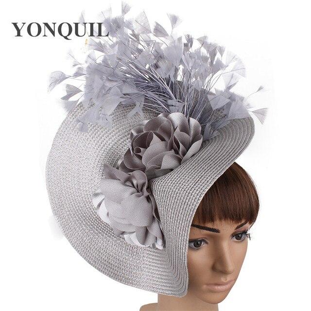 Imitação de palha grande derby fascinator chapéu agradável flor headpiece bandana com fantasia pena corrida acessórios para o cabelo clipe de cabelo