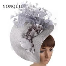 Imitation straw big derby fascinator hat nice flower headpiece headband with fancy feather race hair accessories hair clip