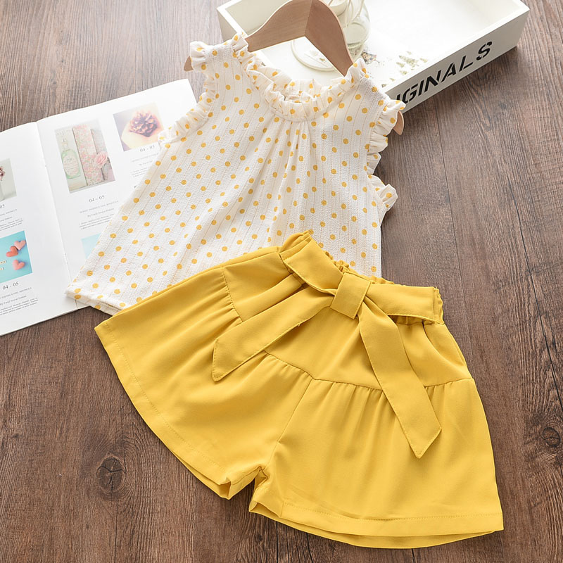 Kids Girls Clothing Sets Summer New Style Brand  Baby Girls Clothes short Sleeve T-Shirt+Pant Dress 2Pcs Children Clothes Suits 3