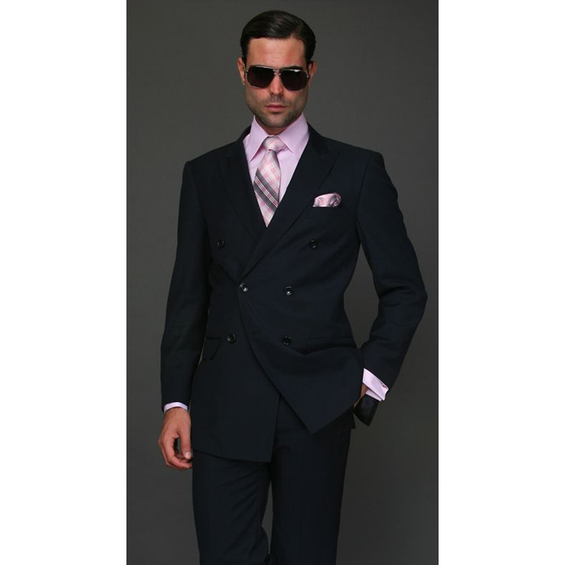 Custom Made Double Breasted Men's 2 Piece Wedding Groom Tuxedos Groomsman Best Man New Suits Men Suits (Jacket+Pants)