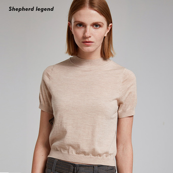 Spring Summer Women Wool Sweaters Pullovers Solid O-neck Short-sleeved Knit Cashmere Sweater Thin Casual Tops Jumper Female solid ribbed knit roll neck jumper