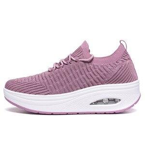 Image 4 - WDZKN אופנה לנשימה אוויר רשת נשים נעלי טריזי העקב נעלי גבירותיי סריגה גרב סניקרס נשים פלטפורמת נעליים יומיומיות H668