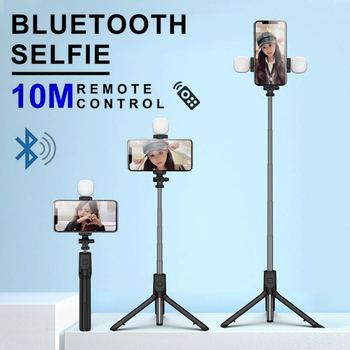 Bluetooth Selfie Stick With Led Fill Light Foldable Tripod Handheld Selfiestick Wireless Remote For IPhone Xiaomi Huawei Samsung image