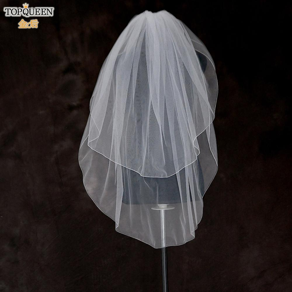 TOPQUEEN V15 White ivory Bridal Veil Luxury Short Bridal Veils Two Tier Bridal Veil New Designs Shoulder Length Veil with Comb