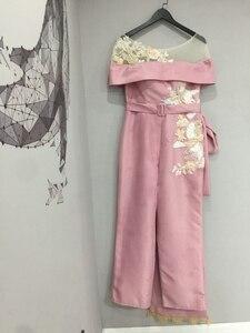 Image 4 - Abendkleider luxo longo sereia rosa frisado cristais calças elegantes para casamentos vestidos de festa à noite robe de soiree