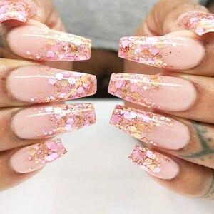 Image 4 - 1 takım holografik tırnak Glitter seti toz Nail Art Pigment DIY pul Nail Art süslemeleri toz jel manikür Pigment CH1506 08