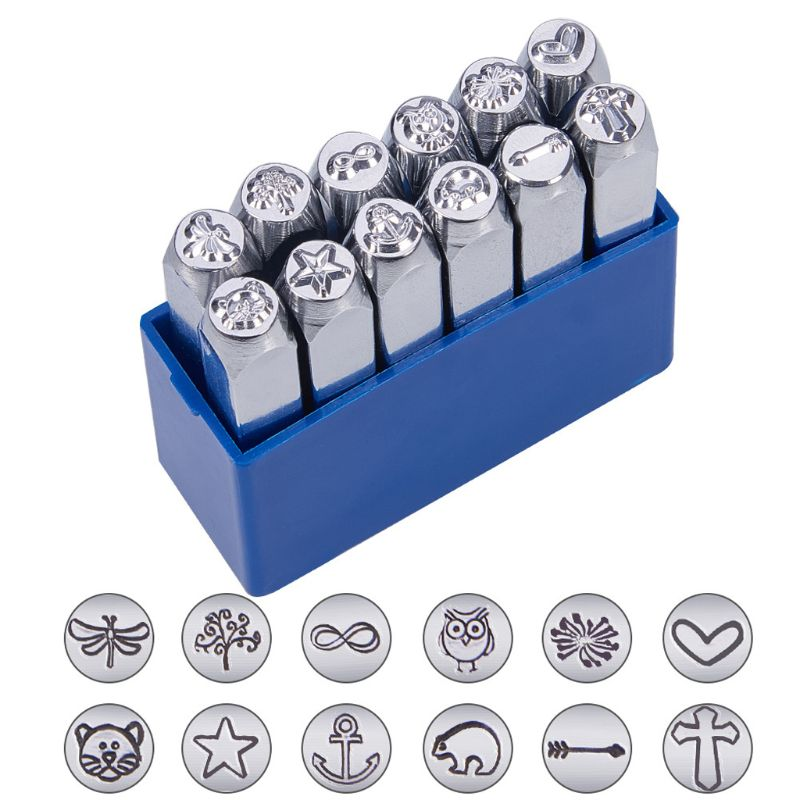 12 Designs Jewelry Stamps Tree Cat Brid Pattern Metal Punch Stamp Stamping Tools