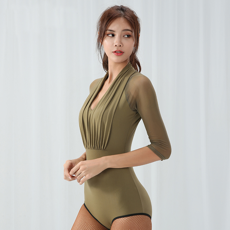 Gauze Sleeve Modern Ballroom Sexy Latin Dance Top Bodysuit For Female/women Dancer,Costume Practice Top Performance Wear MD9226