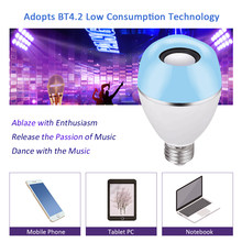 E27 led Bulb AC100-240V 6W Intelligent BT4.2 Connected 2 in 1 Music Speaker with Remote Control Dimmable for Home Party Deco(China)