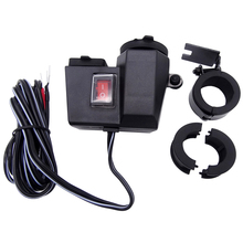 Waterproof Motorcycle Cigarette Lighter Socket Splitter Power Adapter With Dual USB Charger DC 12V
