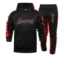 2021 brand men's two-piece hooded sportswear men's sportswear gym stitching hoodie + sweatpants jogger sweatshirt