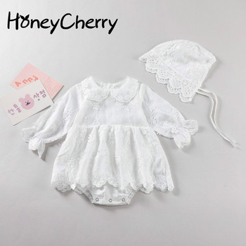 2020 Autumn New Flower Embroidered Baby Long-Sleeve bodysuits  Girl Triangle Long-Sleeve Jumpsuit baby girl clothes flower embroidered long sleeve ruffled top