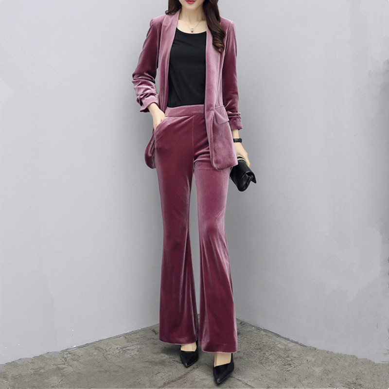 Autumn Winter New Woman Gold Velvet Casual Suit Sets Fashion Slim Office Lady Professional Pants Suits Blazer And Pants Two Sets
