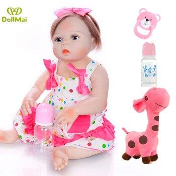 """22"""" Newborn Dolls Lifelike Reborn Dolls Babies Full Body Silicone Vinyl Bebe Christmas Gift For Girls toys reborn toddler NPK"""