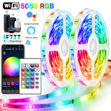 5M-30M WIFI LED Strip Lights Bluetooth RGB Led light 5050 SMD Flexible Waterproof Tape Diode DC 12V WIFI 24K IR Controller Power