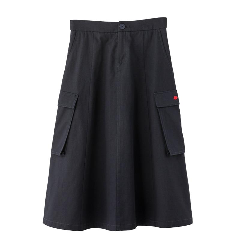 INMAN 2020 Spring New Arrival Plain Cotton Series Xinjiang Cotton Literary Loose Slimmed High Waist A line SkirtSkirts   -