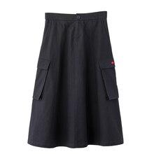 INMAN 2020 wiosna nowy nabytek jednobarwna bawełna seria Xinjiang bawełna literacka luźna Slimmed wysokiej talii spódnica linii