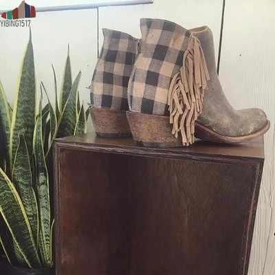 ใหม่ผู้หญิง Fringe Western Booties หญิง Casual Suede รองเท้าส้นสูงรอบ Toe รองเท้าผู้หญิงข้อเท้ารองเท้าซิปรองเท้า
