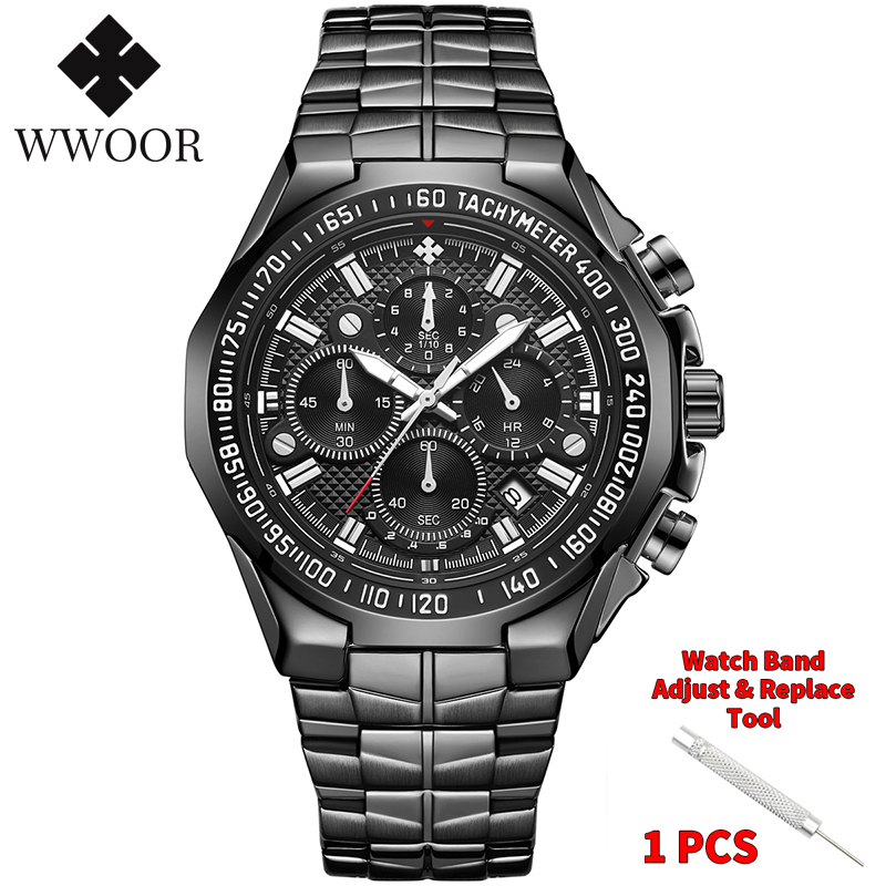 WWOOR 2020 New Men Watches Top Brand Luxury Gold Stainless Steel Quartz Watch Men Waterproof Sport Chronograph Relogio Masculino 7