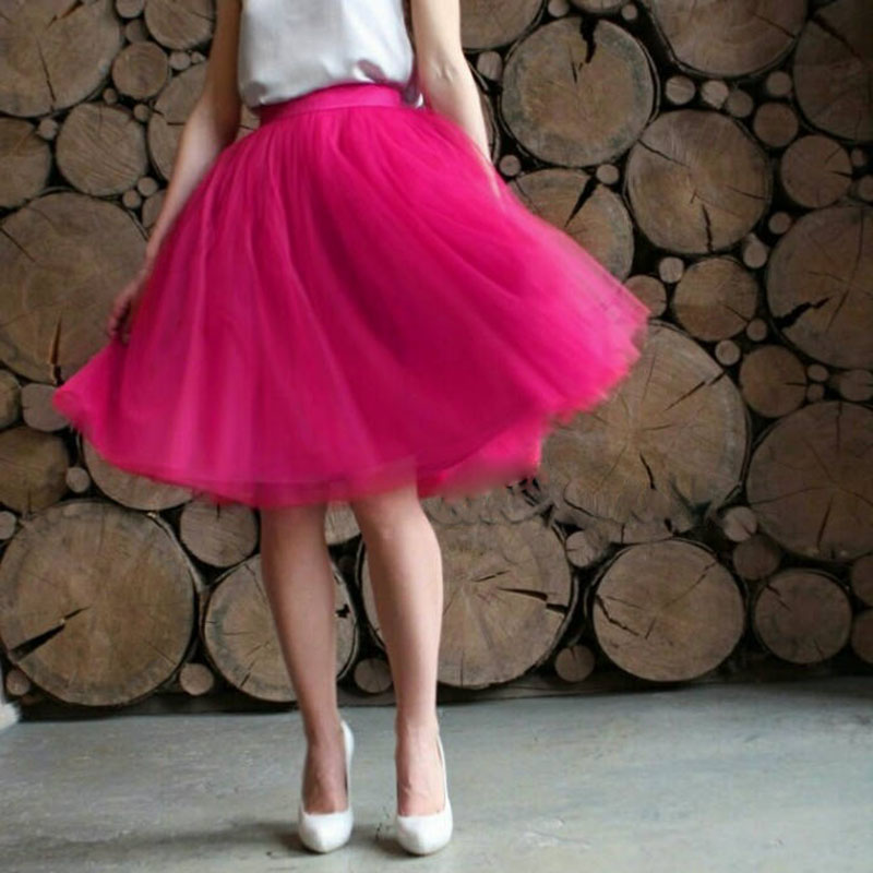 Women Tulle Skirt Women Lace Pink Knee Length Empire Girls  Plus Size Tulle Skirts Designer Secret Custom