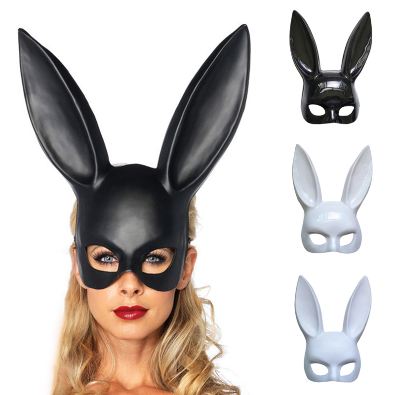 Fashion Women Girl Sexy Costume Rabbit Ear Mask Cute Bunny Long Ears Bondage Halloween Masquerade Party Cosplay Costume Props