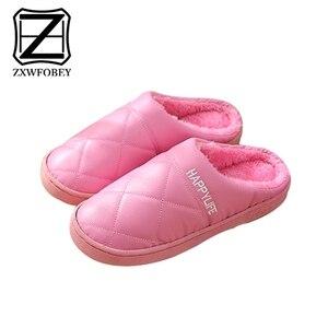 Image 3 - ZXWFOBEY الرجال النساء أحذية دافئة المنزل حذاء للحديقة الفراء اصطف الشرائح داخلي خف جلدي أحذية الشتاء