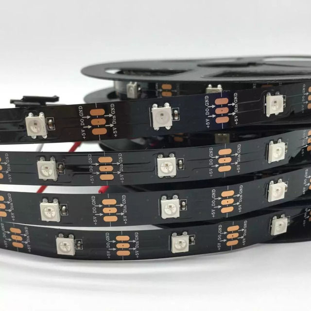 DC5V WS2812B 1m/4m/5m 30/60/74/96/144 pikseli/diod led/m inteligentna dioda led pasek pikseli, czarno-biała płytka PCB,WS2812 IC;WS2812B/M,IP30/IP65/IP67