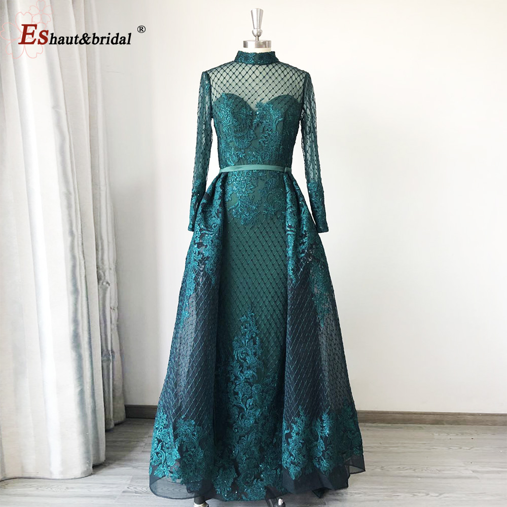 Dubai High Neck Evening Dress 2020 Long Sleeves Full Lace Sequined Luxury Sparkle Detachable Train Mermaid Formal Party Gowns