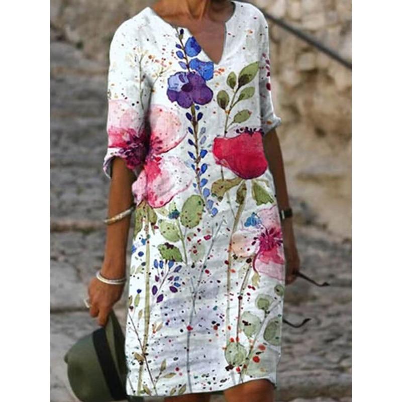 FlowersWomen Dress Summer 2021 V-Neck Half Sleeve A-Line Dresses Female Vintage Loose Dress Vestidos Chrysanthemum Wome 4 orders