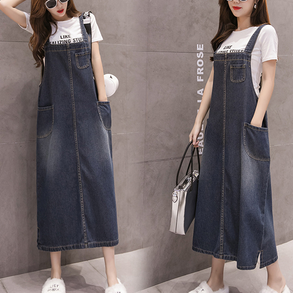 Loose Sleeveless Women Sling Denim Skirt Ladies Solid Casual Dungaree Skirt Female Overall Jeans Long Pinafore Jupe Femme Summer