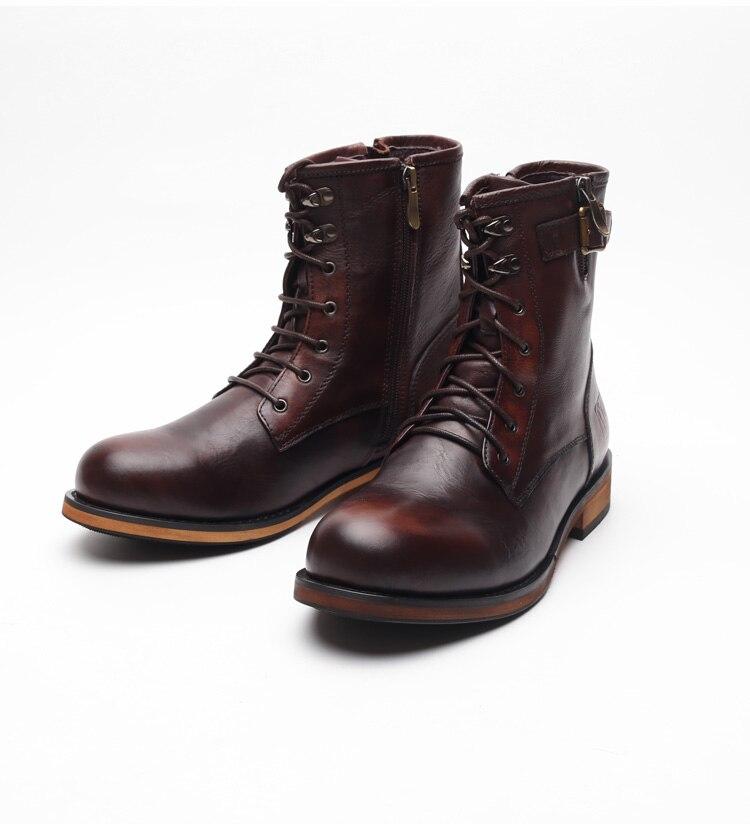 Мужские Винтажные ботинки martin, коричневые, красные ботильоны из натуральной воловьей кожи с круглым носком, на шнуровке, на молнии, короткие
