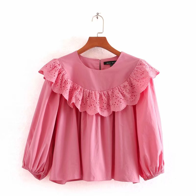 Women Solid Color Hollow Out Ruffles Casual Smock Blouse Lady O Neck Lantern Sleeve Kimono Chemise Femininas Shirts Tops LS6401