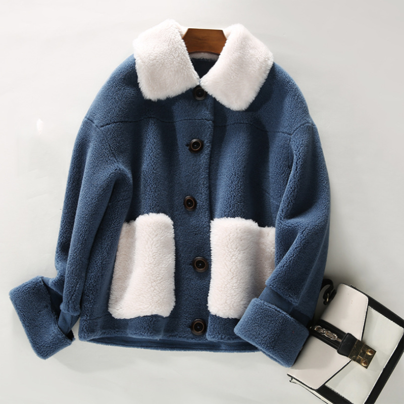Autumn short sheep shearling parka jacket female 2020 winter new large particle composite fur one coat wool fur women's overcoat