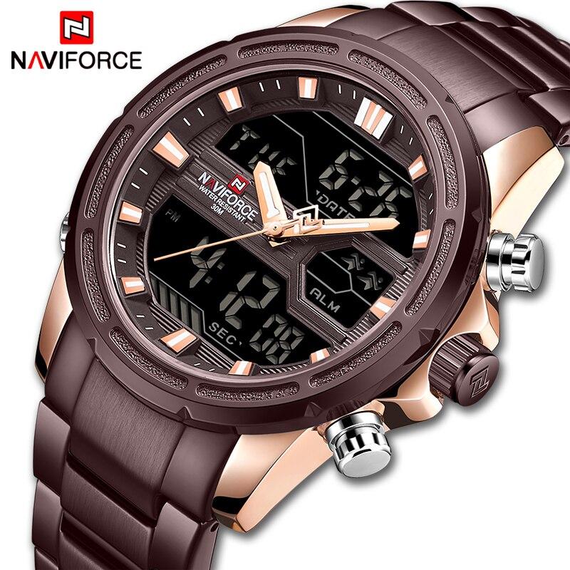 New NAVIFORCE Mens Watches Top Luxury Brand Sport Watch Men Stainless Steel Waterproof Quartz Wristwatches Digital Male Clock