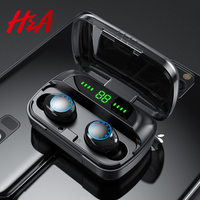 H&A TWS Bluetooth Earphones with 2000mAh Charging Case Sports Waterproof Wireless Headphones Headsets HiFi Sound Touch Control