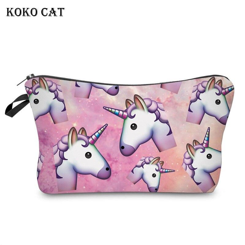 3D Unicorn Printing Cosmetic Bags Cute Cow Heart Organizer Women Makeup Necessaries For Travel Mini Pouch Vanity Case Unicornio