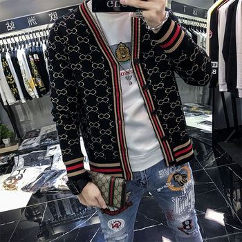 Plaid Sweater Jacket Men s Cardigan Fashion 2020 Spring and Autumn New Long-Sleeved British Style