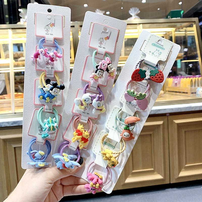 1set Kawaii Cartoon Princess Women Girls Kids Elastic Hair Rubber Bands Accessories Tie Hair Rope Headdress Gift Scrunchies