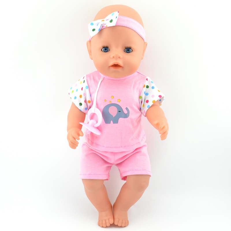<font><b>Clothes</b></font> for <font><b>doll</b></font> for 43 <font><b>cm</b></font> new born <font><b>doll</b></font> accessories and American <font><b>doll</b></font> rose red T-shirt shorts with baby pacifier 071 image