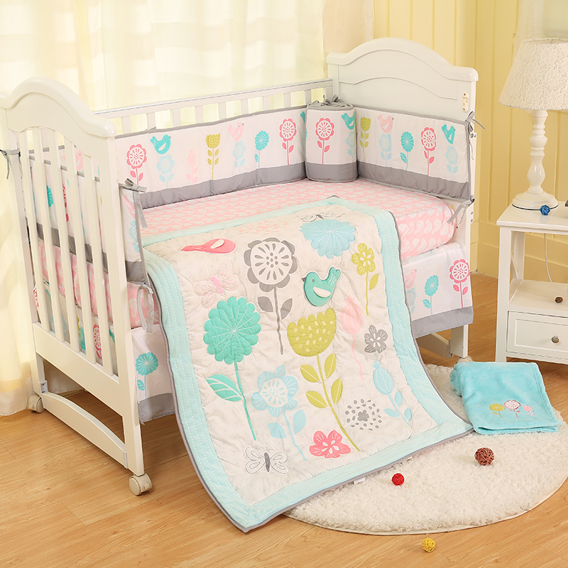 Baby Bedding Set Plant Printing Quilt Bed Cover Crib Sheets Crib Skirt Bumper Polyester Cotton Quilt Baby Bedding Set