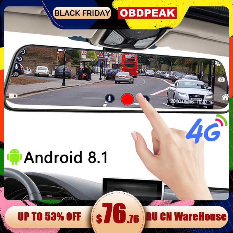 Dash Cam 4G 12 Inci Mobil Kaca Spion Stream Media Dual 1080P Android Cermin Mobil DVR Adas Super malam Sebelum dan Setelah FHD