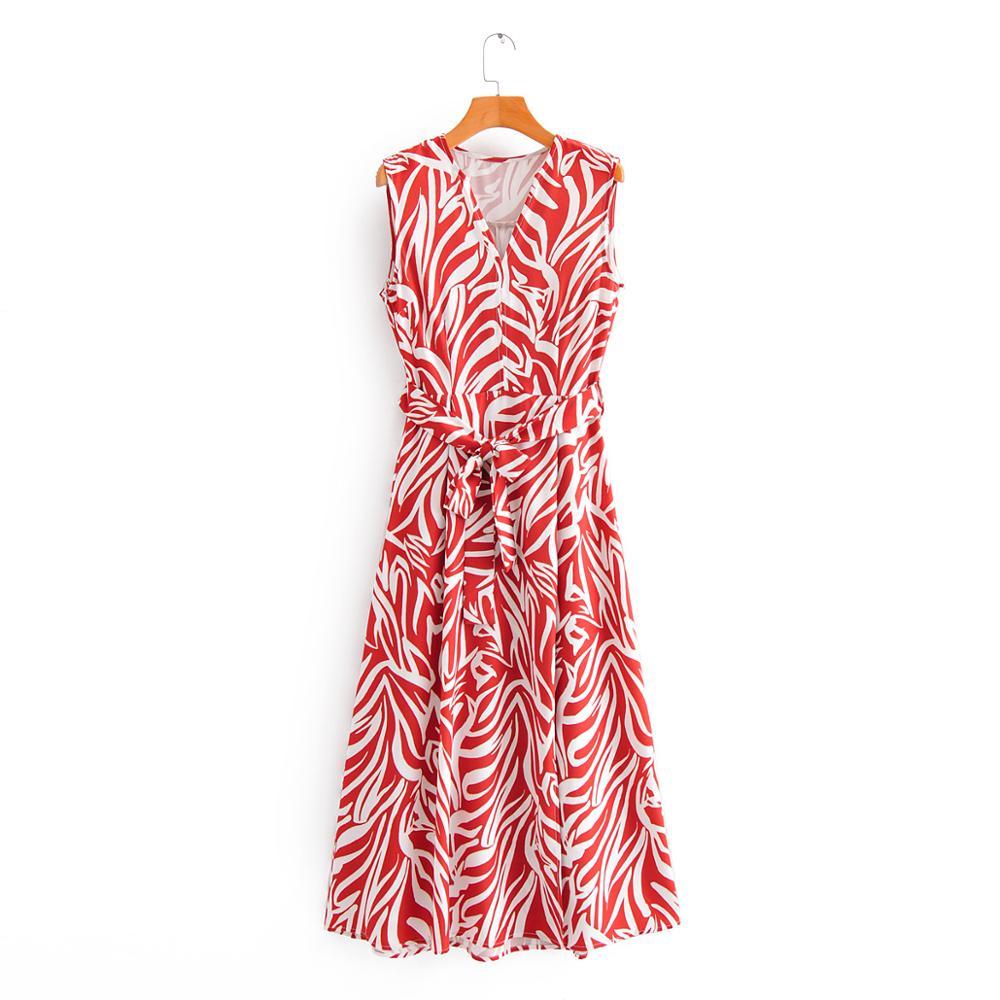 New 2020 women elegant v neck red zebra striped print bow tie sashes midi dress lady chic sleeveless casual slim vestidos DS3591