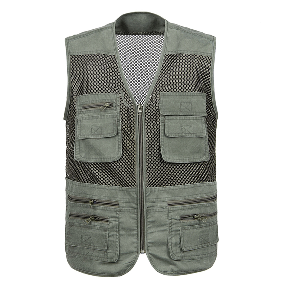 Large Size 2019 Mesh Quick Drying Vests Male with Many Pockets Mens Breathable Multi pocket Fishing Vest Work Sleeveless Jacket