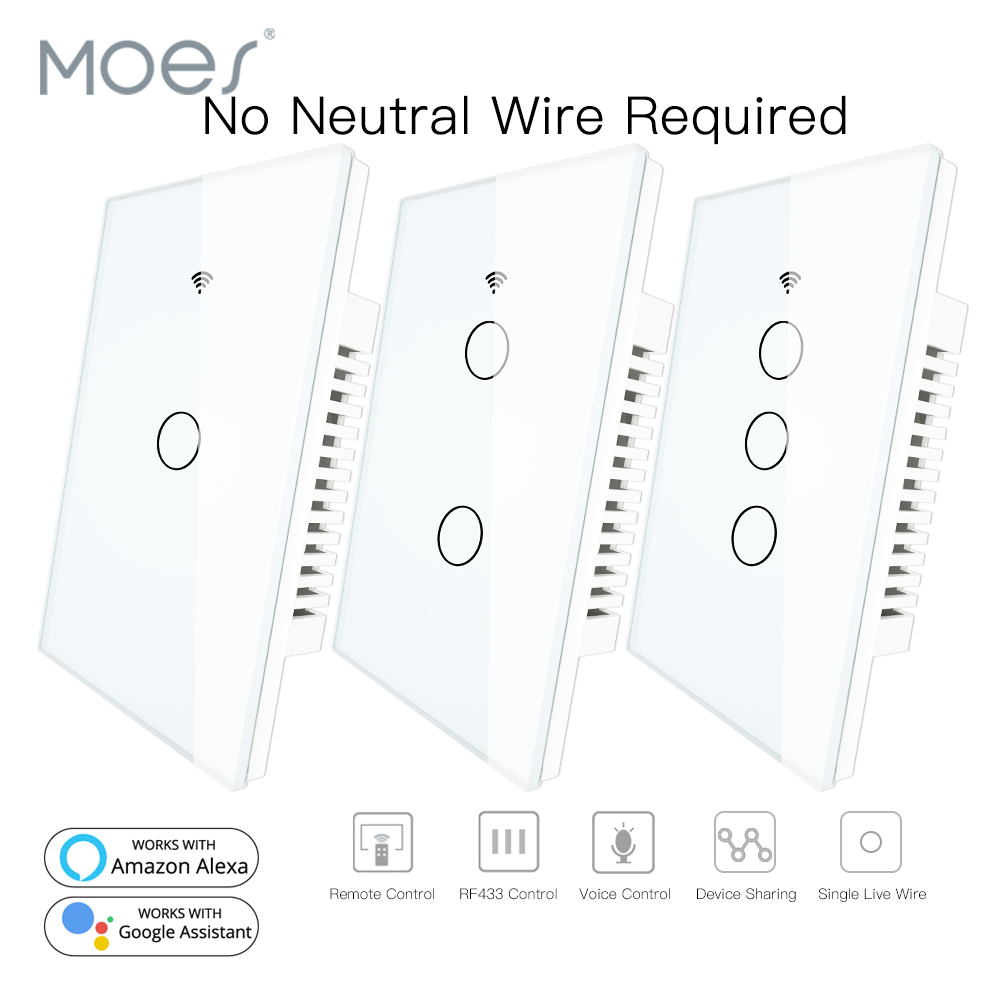 RF433 WiFi Smart Wall Touch Switch No Neutral Wire Needed Smart Single Wire Wall Switch Work With Alexa Google Home 170-250V