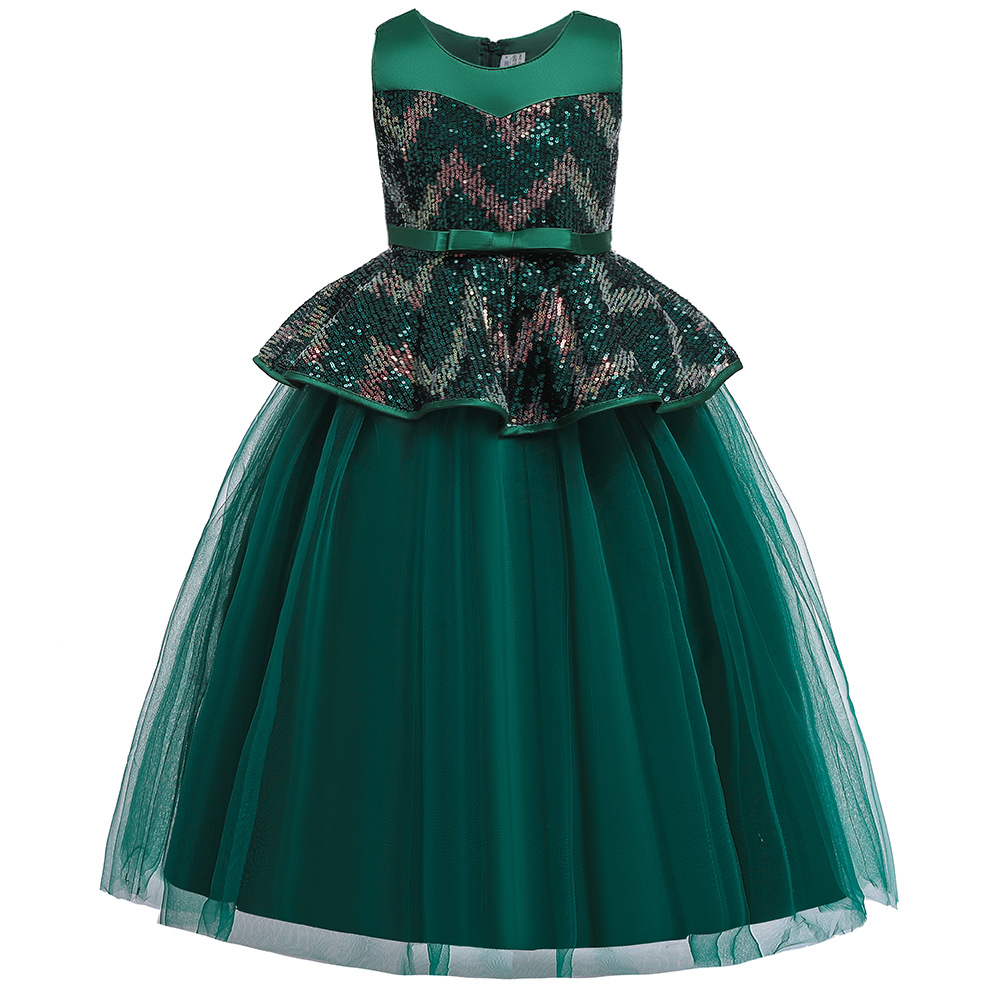 Beautiful Green Long Formal Birthday Party   Dresses   For 3-12 Years Old A-Line Sequins   Flower     Girls     Dresses   for Wedding