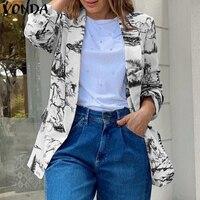 Frauen Blazer 2021 VONDA Casual Drehen Unten Kragen Blazer Damen Langarm Vintage Gedruckt Oberbekleidung Femme Mäntel Übergroßen