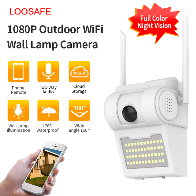 1080P في الهواء الطلق واي فاي كاميرا IP لاسلكية 48 مصباح ليد الأشعة تحت الحمراء الصوت والفيديو IP66 مقاوم للماء حديقة المنزل CCTV الأمن فناء المراقبة