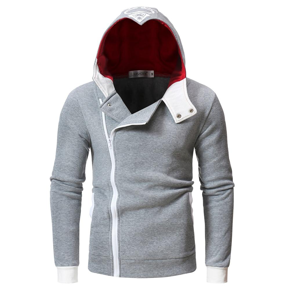 Hoodie Jackets Side Zipper Patchwork Men Casual Assassins Creed Male Sweatshirts