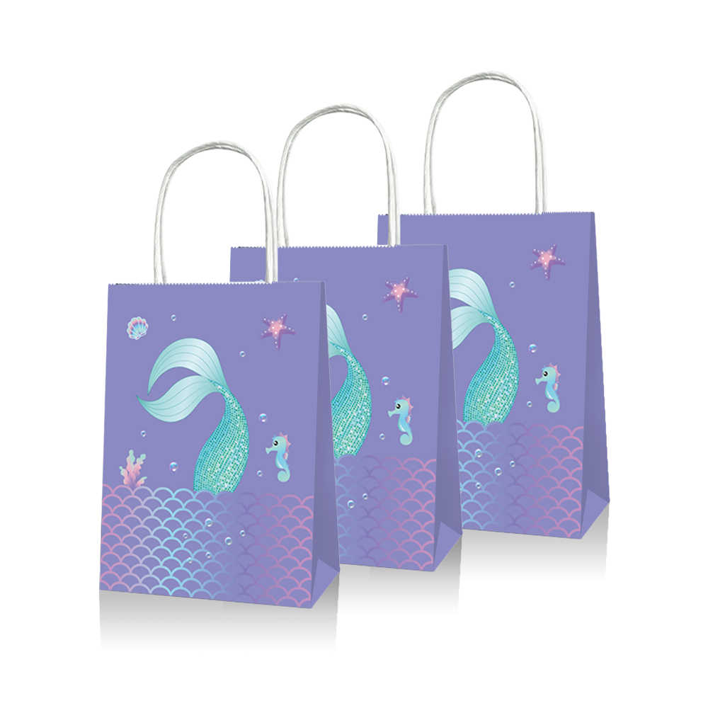 20pcs Baby Shower Mermaid Theme Party Gift Bags Happy Birthday Candy Bags Party Decorations Paper Gift Packing