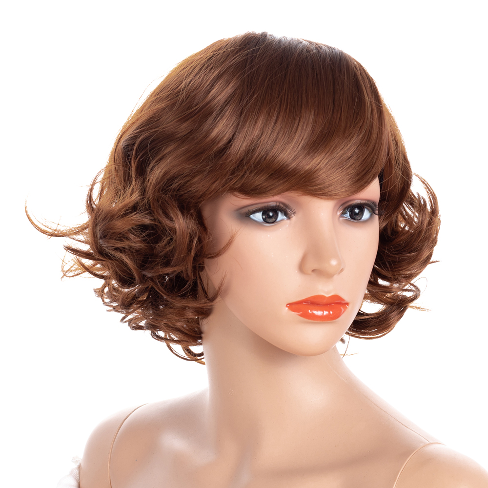 Женские короткие волнистые парики ZM Hair 16 дюймов, термостойкий коричневый парик из натуральных вьющихся синтетических волос с челкой|Синтетические парики без сеточки| | АлиЭкспресс